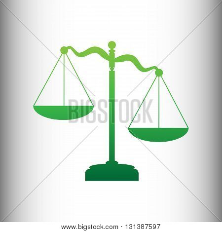 Scales of Justice sign. Green gradient icon on gray gradient backround.