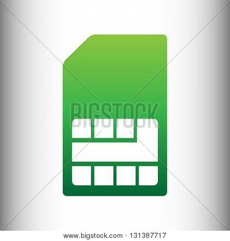 Sim card sign. Green gradient icon on gray gradient backround.