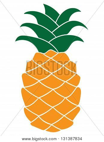 Flat pineapple icon isolated on white background. Vector illustration.
