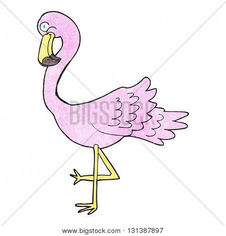 freehand textured cartoon flamingo