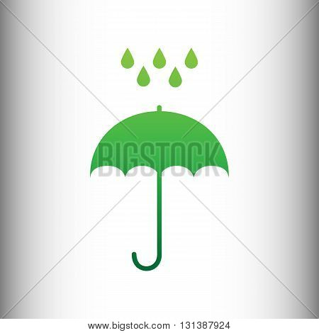 Umbrella with water drops. Rain protection symbol. Flat design style. Green gradient icon on gray gradient backround.