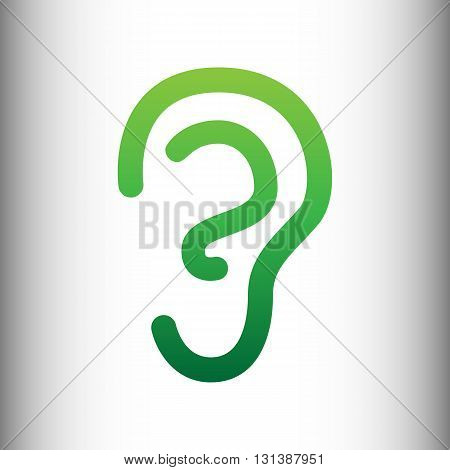 Human ear sign. Green gradient icon on gray gradient backround.