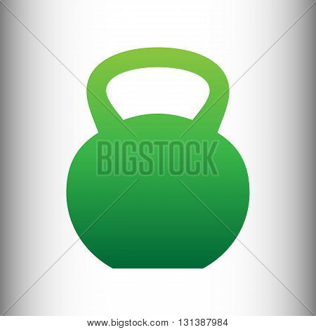 Fitness Dumbbell sign. Green gradient icon on gray gradient backround.