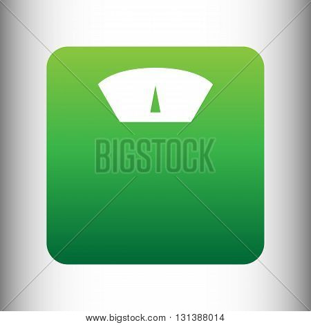 Bathroom scale sign. Green gradient icon on gray gradient backround.