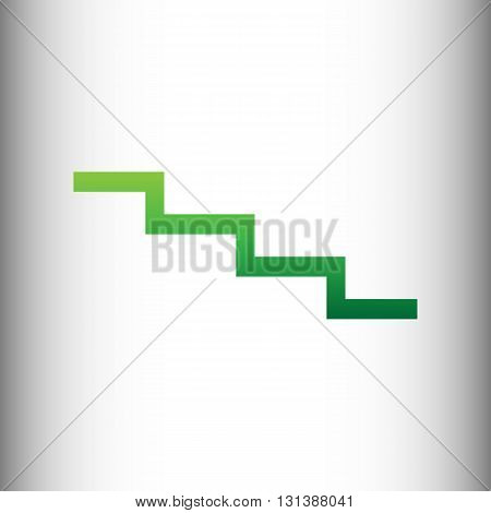 Stair down sign. Green gradient icon on gray gradient backround.