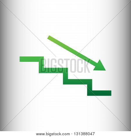 Stair down with arrow. Green gradient icon on gray gradient backround.