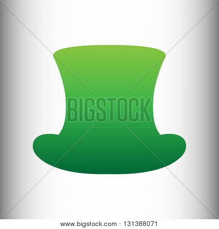 Top hat sign. Green gradient icon on gray gradient backround.