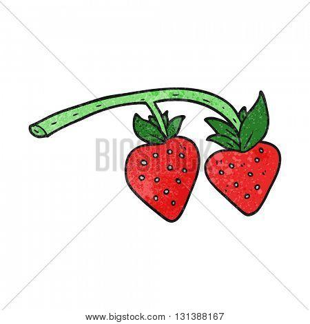 freehand textured cartoon strawberries