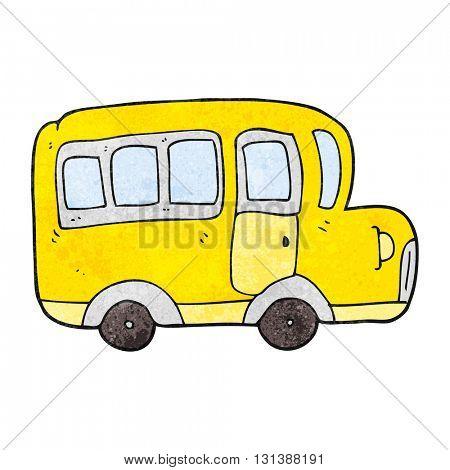 freehand textured cartoon yellow school bus
