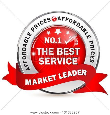 Market Leader. The best service with affordable prices - business label with ribbon.