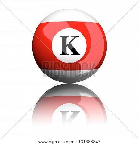 Alphabet Letter K Sphere 3D Rendering
