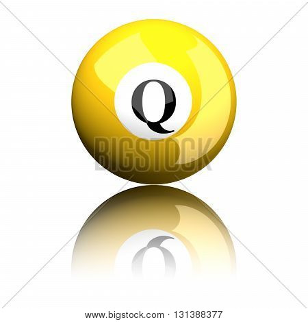 Alphabet Letter Q Sphere 3D Rendering