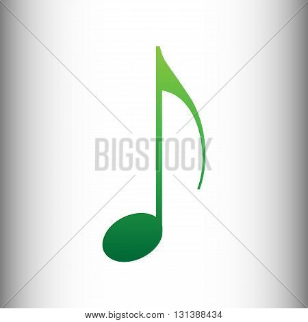 Music note sign. Green gradient icon on gray gradient backround.