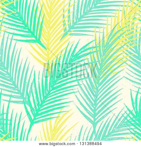 Seamless tropical pattern with jungle leaves and palm fronds.
