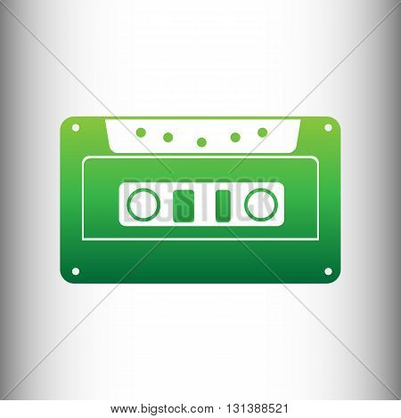 Cassette icon, audio tape sign. Green gradient icon on gray gradient backround.