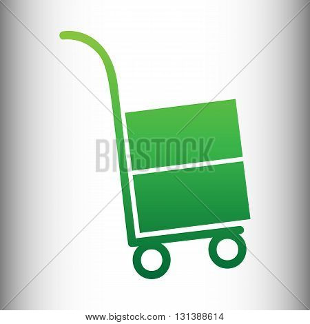 Hand truck icon. Green gradient icon on gray gradient backround.