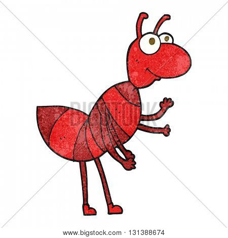 freehand textured cartoon ant