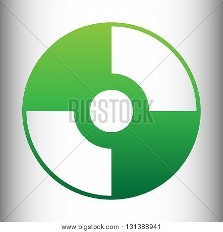 Vector CD or DVD icon. Green gradient icon on gray gradient backround.