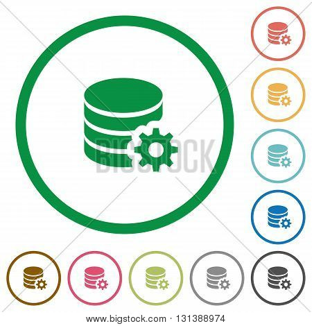 Set of database configuration color round outlined flat icons on white background