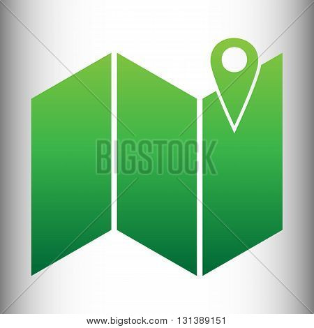 Pin on the map. Green gradient icon on gray gradient backround.