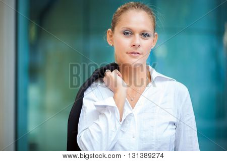 Beautiful businesswoman outdoor
