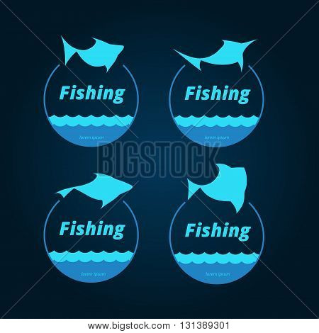 Fish and sea round badges of bright blue color on dark background