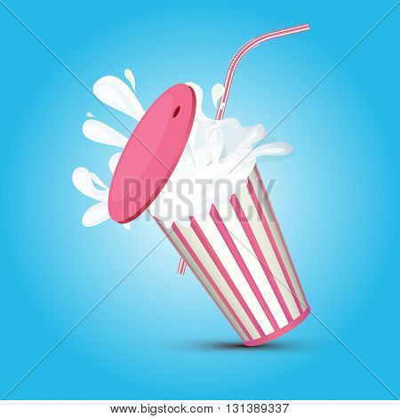 Splashing pink stripped milkshake paper cup with pipe and cover on a blue background