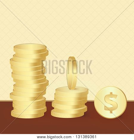 Set of shiny bright golden coins in different point of views