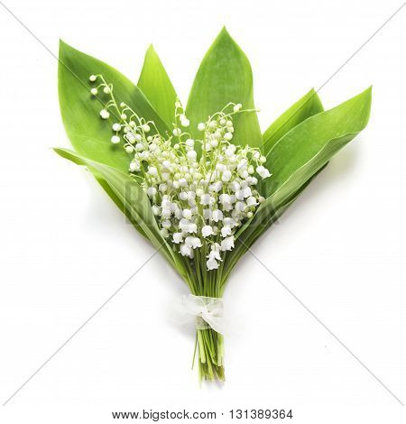 lilies of the valley bouquet on whiteу background