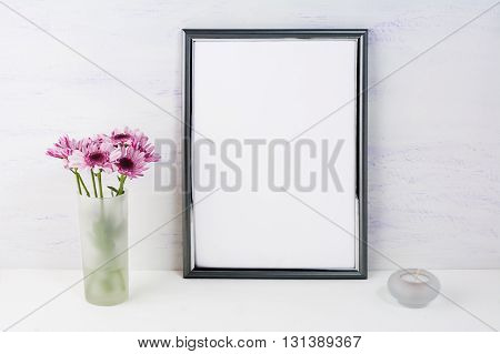 Frame mockup with lilac daisies. Frame mockup. Poster Mockup. Styled mockup. Product mockup. Design Mockup. Silver frame mockup. White frame mockup. Portrait frame mockup.