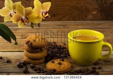 Coffee and cookies. Homemade biscuit. Homemade cookies.Sweet dessert. Breakfast cookies. Sweet pastry. Coffee break. Morning coffee. Cup of coffee. Coffee cup. Strong coffee. Coffee mug. Coffee