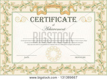 Vintage Certificate Ornament Frame Bindweed Ivy. Vector illustration