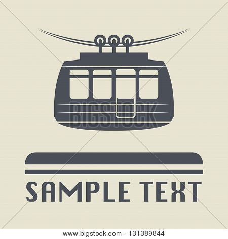 Cable car icon or sign, vector illustration