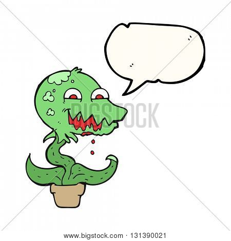 freehand drawn speech bubble cartoon monster plant