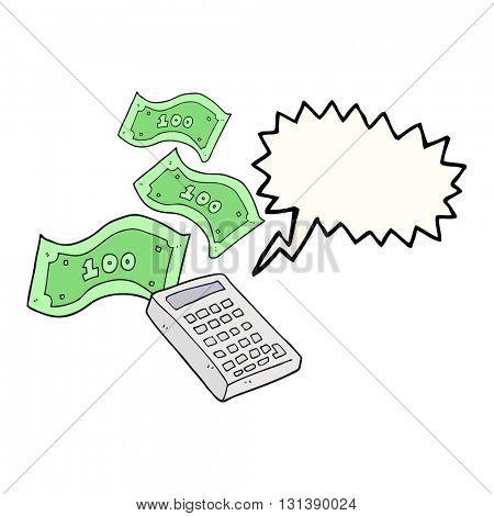 freehand drawn speech bubble cartoon calculator counting money