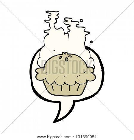 freehand drawn speech bubble cartoon pie