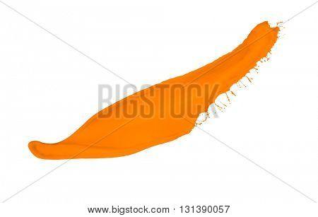 orange paint splash isolated on white background