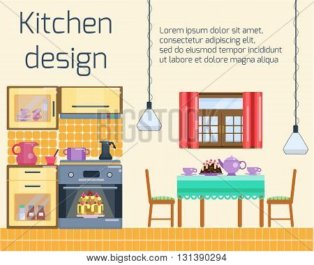 Kitchen design. Kitchen and dining room interior with utensils, appliances and furniture. Stove and oven, dining table  and two chairs. Flat home interior. Vector cartoon illustration