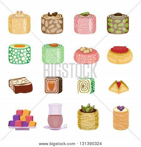 Oriental sweets set. East cuisine collection. Turkish delight and baklava with glass of tea. Oriental arabian sweet food collection. Vector illustration, cartoon style