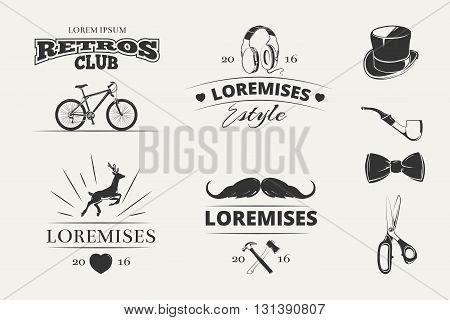 Hipster vector logos, emblems, labels, badges. Emblem logo set in hipster style. Vintage label designs for hipster brand