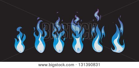 Blue fire vector animation sprites, flames. Fire animation burn light. Illustration fire in blue color
