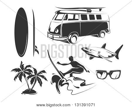 Vector elements for summer surfing. Summer beach surfing and tropical surfing black elements