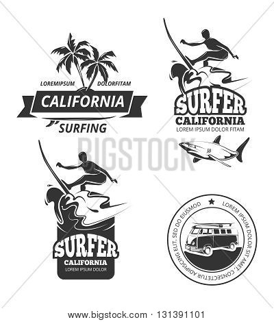Surfing logo set. Vector surfing labels or surfing sport badges with palm trees and