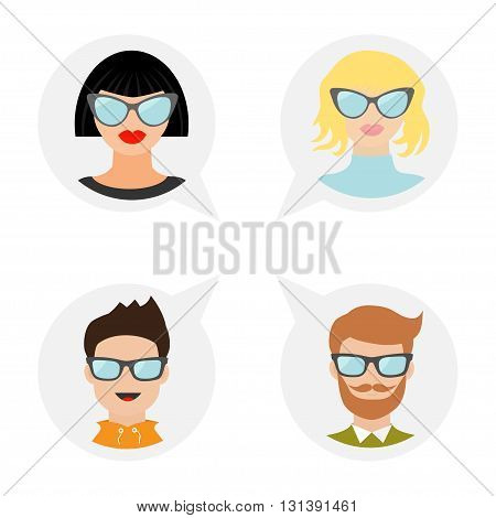 Avatar people icon set. Cute cartoon character. Diverse face collection. Men women wearing eyeglasses. Male female head with sunglasses Speech bubble Flat White background Isolated Vector illustration