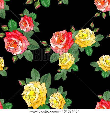 Floral vector illustration. Red and yellow roses with leaves on a black background. Seamless pattern for textile fabrics wrapping gift paper.
