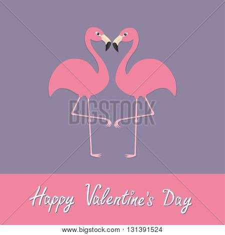 Happy Valentines day. Flamingo couple neck heart shape. Exotic tropical bird. Zoo animal collection. Cute cartoon character. Love greeting card. Decoration Flat Violet background Vector illustration
