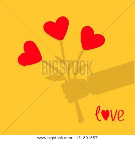 Businessman shadow hand holding bunch bouquet of heart flowers. Yellow background. Love card. Flat design. Vector illustration