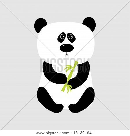 Panda baby bear. Cute cartoon character holding bamboo. Wild animal collection for kids. White background. Isolated. Flat design. Vector illustration
