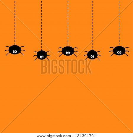 Hanging black spiders on dash line web. Cute cartoon baby character set. Flat material design. Orange background. Vector illustration