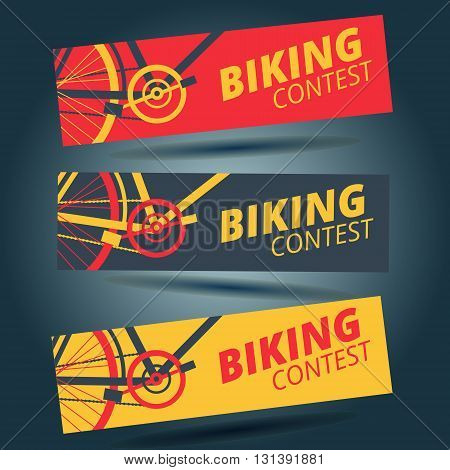 Flat bicycle contest flyer template of red yellow and grey color
